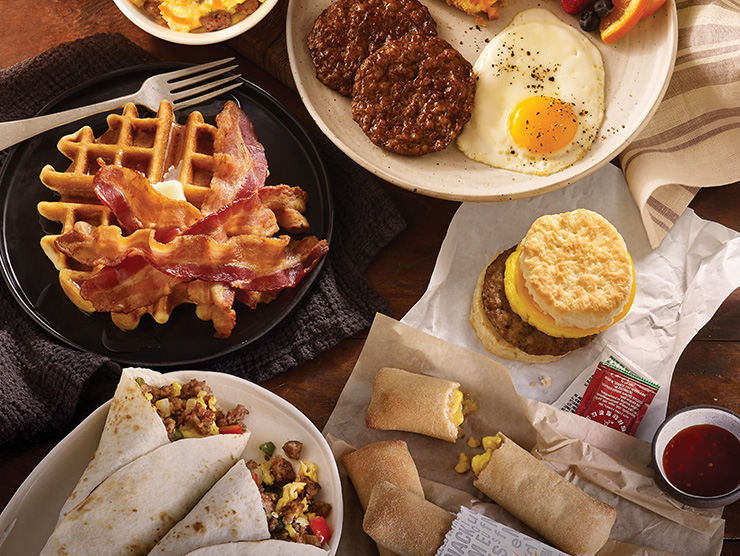 breakfast foods, waffles, sausage, eggs