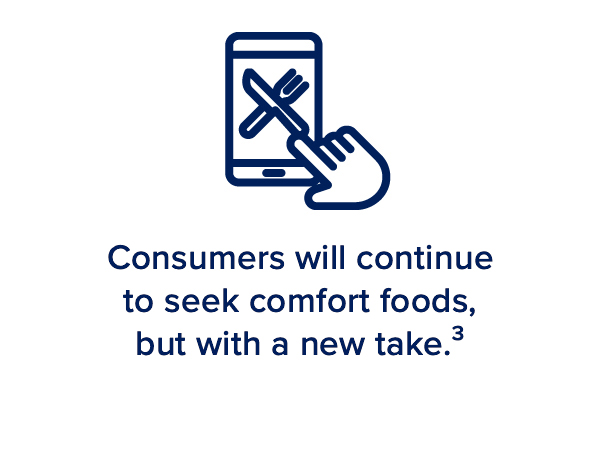 Consumers will continue to seek comfort foods, but with a new take³