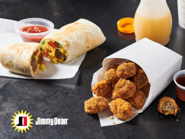 Jimmy Dean® Sausage Tots in a paper to-go container and also in a breakfast burrito. Sides include orange juice and ketchup.