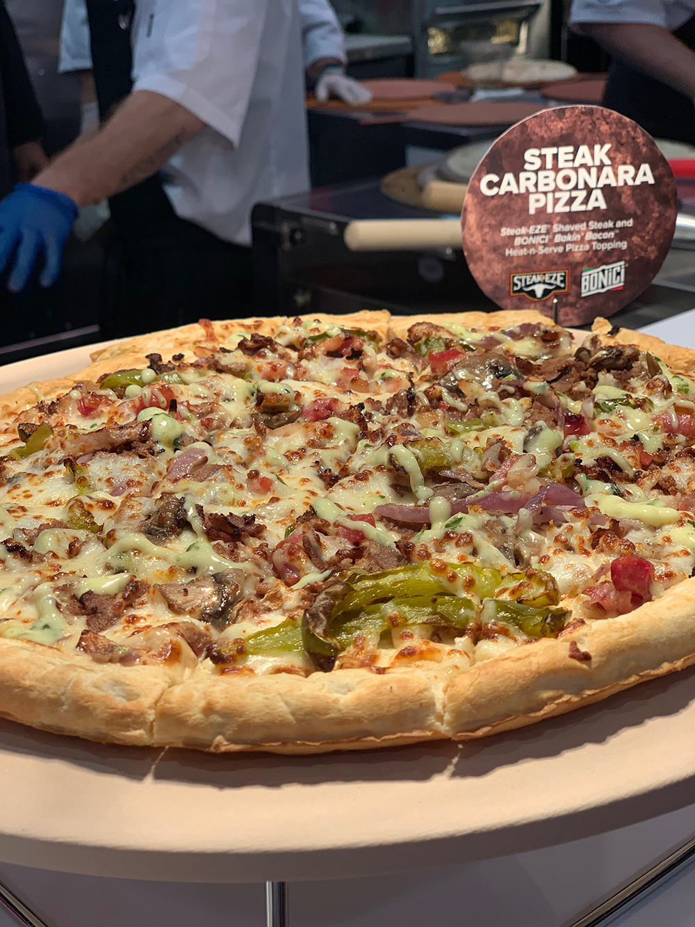 Pizza Expo 2019 Tyson Foodservice Steak Carbonara Pizza Steak-EZE and Bonici